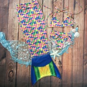 Other - Girls 3pc Mermaid Swimsuit & Tail Coverup